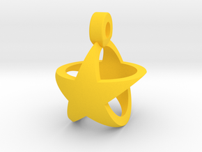 Star Pendant v1 in Yellow Processed Versatile Plastic