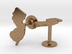 New Jersey State Cufflinks in Natural Brass