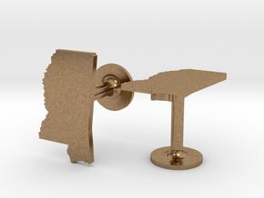 Mississippi State Cufflinks in Natural Brass