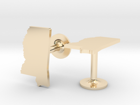 Mississippi State Cufflinks in 14k Gold Plated Brass