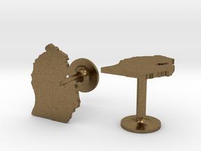 Michigan State Cufflinks in Natural Bronze