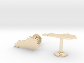 Kentucky State Cufflinks in 14k Gold Plated Brass