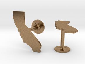 California State Cufflinks in Natural Brass