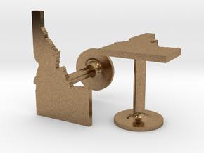 Idaho State Cufflinks in Natural Brass