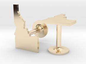 Idaho State Cufflinks in 14k Gold Plated Brass