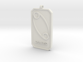 Zodiac Dogtag/KeyChain-CANCER in White Natural Versatile Plastic