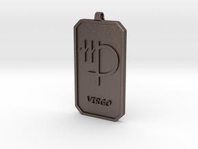 Zodiac Dogtag/KeyChain-VIRGO in Polished Bronzed Silver Steel