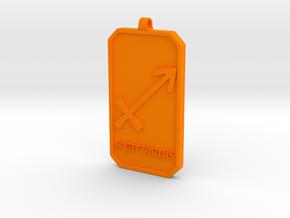 Zodiac Dogtag/KeyChain-SAGITTARIUS in Orange Processed Versatile Plastic