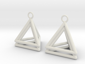 Pyramid triangle earrings type 4 in White Natural Versatile Plastic