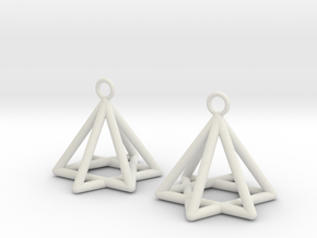 Pyramid triangle earrings type 13 in White Natural Versatile Plastic