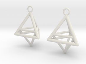 Pyramid triangle earrings type 10 in White Natural Versatile Plastic
