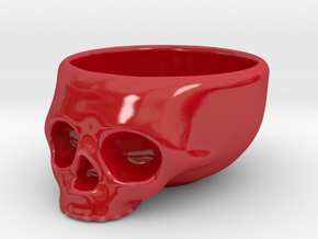 The Cranium Mug in Gloss Red Porcelain