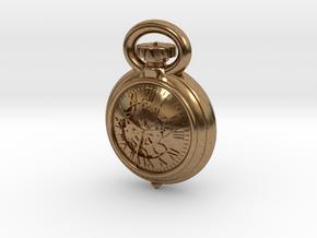 Pocket Watch Half Inch Game Piece in Natural Brass