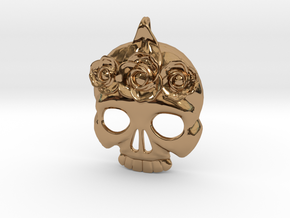 BlakOpal Skull with Rose Crown Charm in Polished Brass