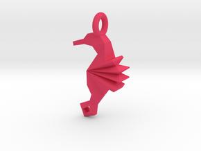 Origami Seahorse in Pink Processed Versatile Plastic