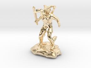 Female Dragonborn Cleric Breathing Lightning in 14k Gold Plated Brass