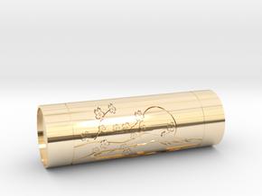 Customizable stamp Sakura Fuji hanko in 14K Yellow Gold