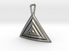 Triangular Ripple Pendant in Fine Detail Polished Silver
