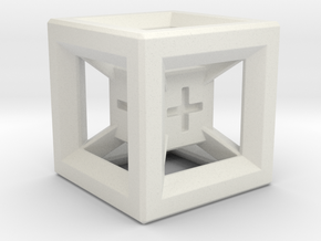 Fudge Dice Hypercube 1.5cm (D3) in White Strong & Flexible