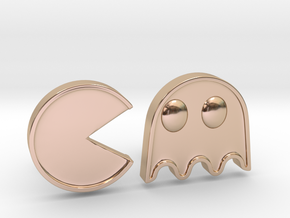 Packman Cufflinks in 14k Rose Gold Plated Brass