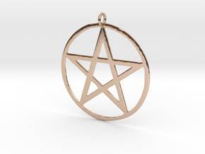 Wiccan Pentacle Charm in 14k Rose Gold Plated Brass