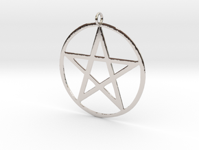 Wiccan Pentacle Charm in Rhodium Plated Brass
