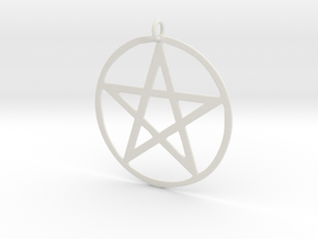 Wiccan Pentacle Charm in White Strong & Flexible