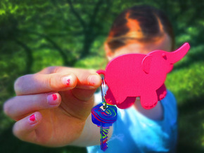 Baby Elephant in Pink Processed Versatile Plastic