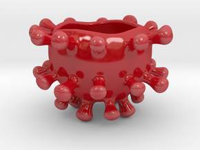 Microbe Sugar Bowl in Gloss Red Porcelain
