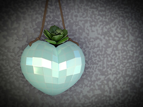 Hanging Heart Vase Planter. Great Gift! in Gloss Celadon Green Porcelain