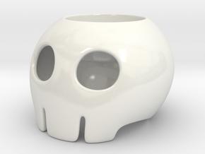 Toon Skull Tea Light Holder in Gloss White Porcelain