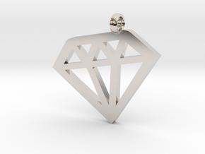 Diamond necklace charm in Rhodium Plated Brass