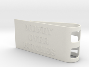 Money Over Bitches Money Clip in White Natural Versatile Plastic