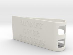 Money Over Bitches Money Clip in White Natural Versatile Plastic