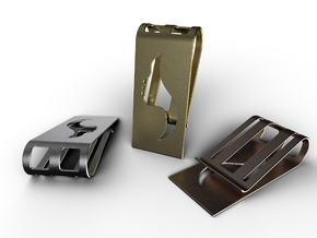 Flow Face Money Clip in Polished Metallic Plastic