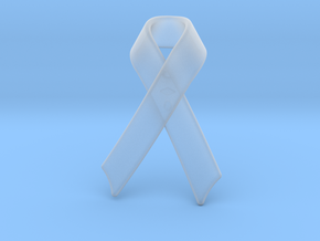 Classic Awareness/Cancer Ribbon Pendant in Smooth Fine Detail Plastic
