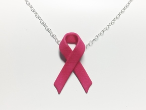 Classic Awareness/Cancer Ribbon Pendant in Pink Processed Versatile Plastic