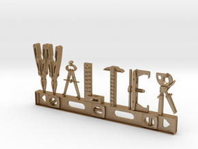 Walter Nametag in Matte Gold Steel