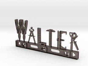 Walter Nametag in Polished Bronzed Silver Steel