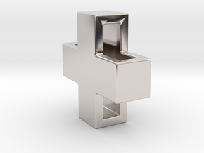 Swiss X Pendant 14mm in Rhodium Plated Brass