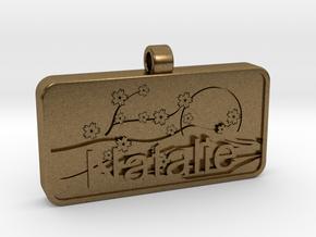 Natalie Name Japanese Tag in Natural Bronze