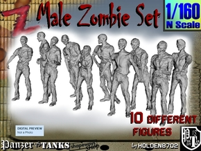 1-160 Male Zombie Set in Smooth Fine Detail Plastic