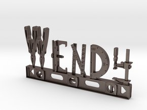 Wendy Nametag in Polished Bronzed Silver Steel