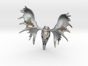 Moose Skull Pendant in Raw Silver