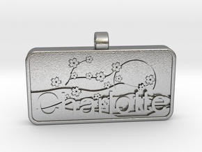 Charlotte Name Tag kanji katakana in Natural Silver