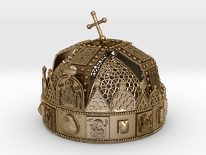 Hungarian Holy Crown with net - half scale in Polished Gold Steel