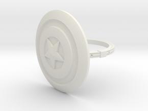 Captain America Ring - 18.19mm - US Size 8 in White Natural Versatile Plastic