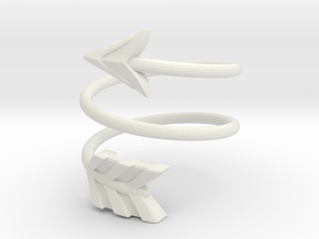 Spiral Arrow Ring - 18.19mm - US Size 8 in White Natural Versatile Plastic