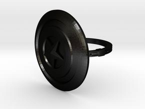 Captain America Ring - 18.89mm - US Size 9 in Matte Black Steel