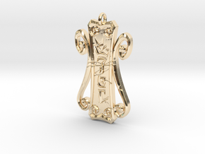 Runic Amulet 01 - 60mm in 14k Gold Plated Brass